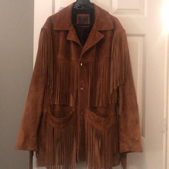 Zara Jackets Coats Man Leather Fringed Jacket Brown L Poshmark
